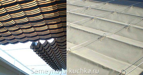 римская штора как крыша для навеса