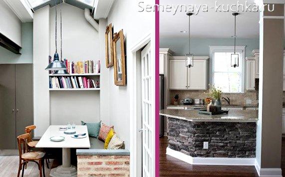 кладка из камня кухонной мебели