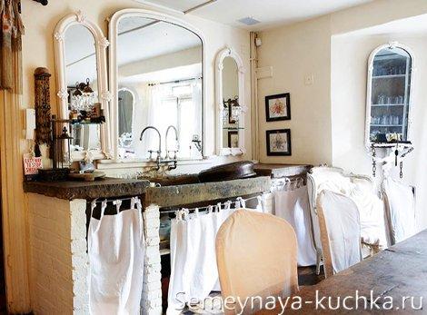 кирпичная мебель для кухни