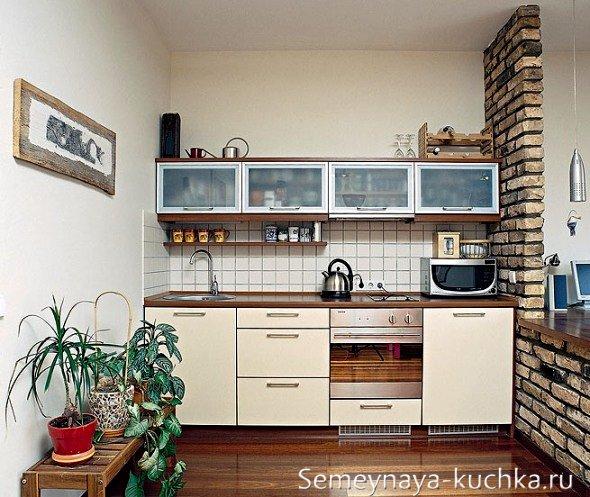 кирпичная кладка на кухне для зонирования