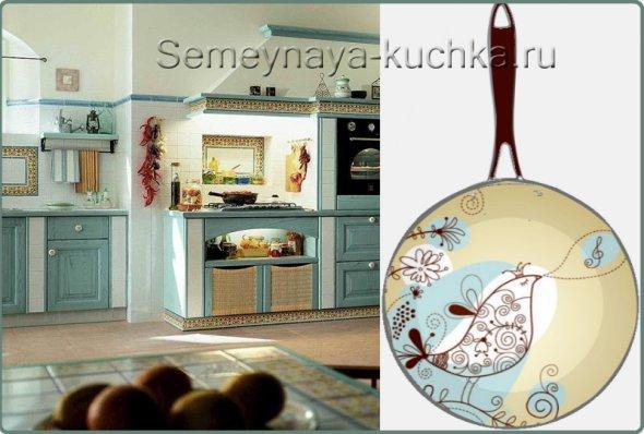 украшаем стены голубой кухни