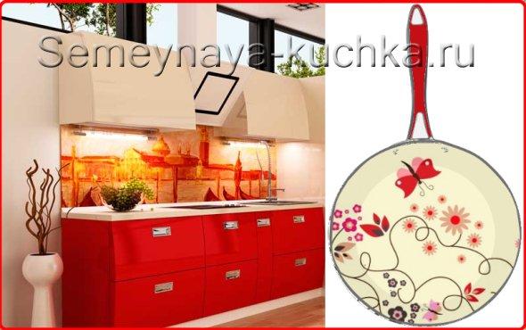 чем украсить стены на кухне с красными фасадами