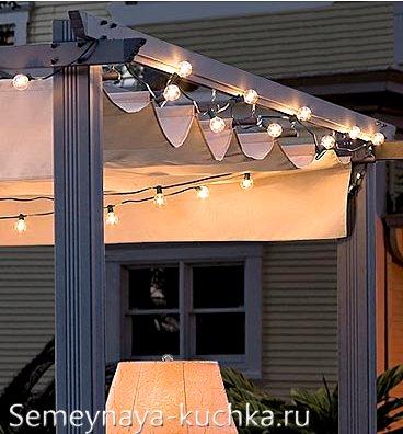 освещение крыши навеса