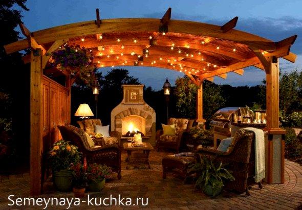 освещение зоны отдыха на даче