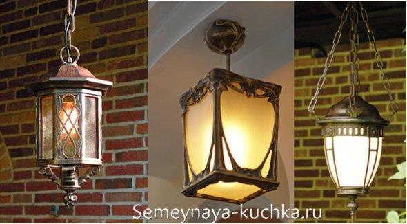 подвесные фонари для навеса