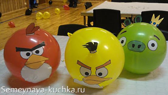поделки Angry Birds из шаров
