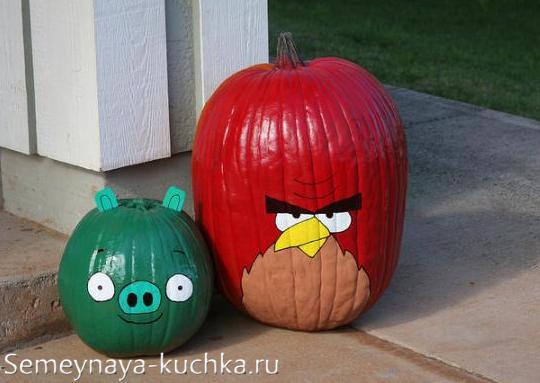 поделки из тыквы Angry Birds