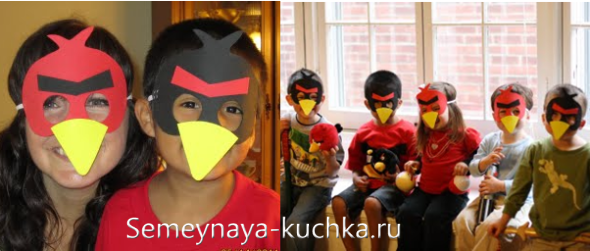 бумажные маски Angry Birds для дня рождения