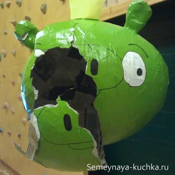 как сделать пинату из папье маше Angry Birds