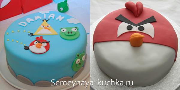 торты с мастикой в стиле Angry Birds.