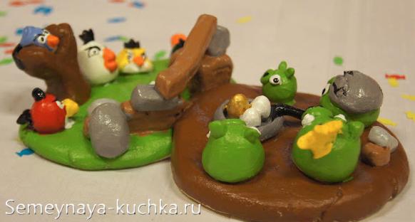 фигурки птиц Angry Birds лепим