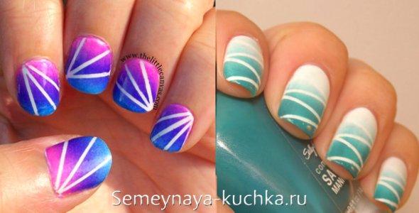 короткие ногти с переходом цвета