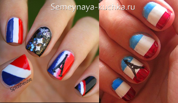 французский флаг на ногтях и башня