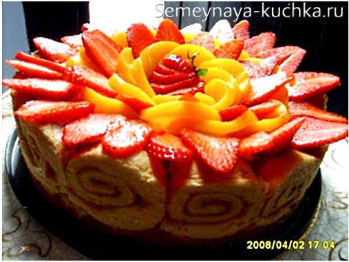 фруктовый торт с заварным кремом