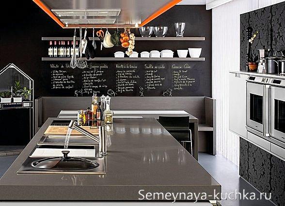грифельные покрытия для стен на кухне