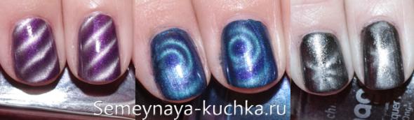 магнитный лак на коротких ногтях