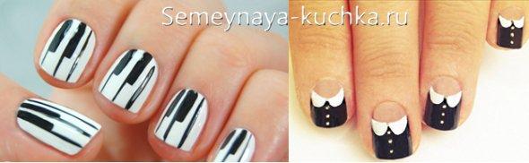 черно-белый дизайн коротких ногтей