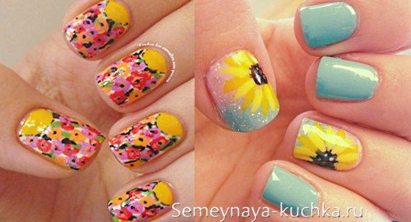 цветы на маникюре коротких ногтей