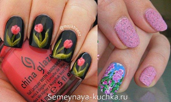 цветы тюльпаны на маникюр