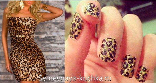 леопардовое платье под маникюр