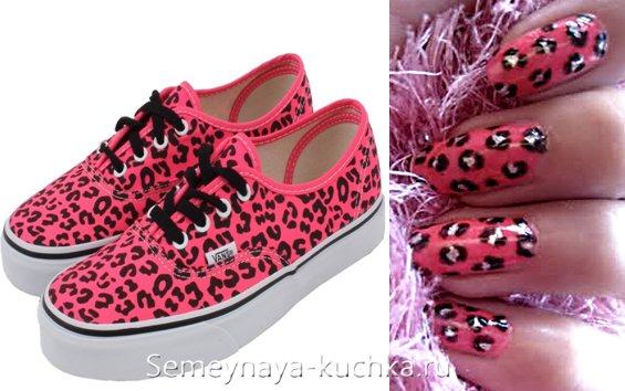 розовый леопардовый маникюр