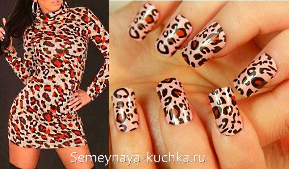 ногти под леопардовое платье