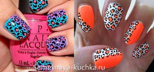 леопардовый рисунок на ногтях