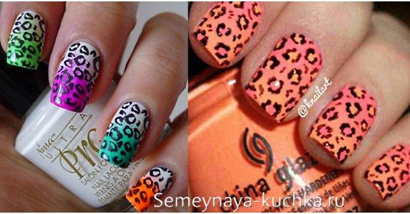леопардовый принт на градиентных ногтях