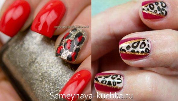леопардовые пятна на красных ногтях