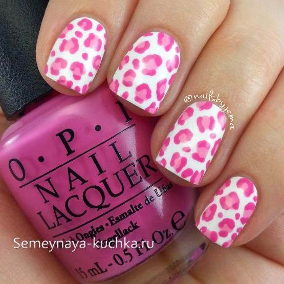 леопардовый маникюр на короткие ногти