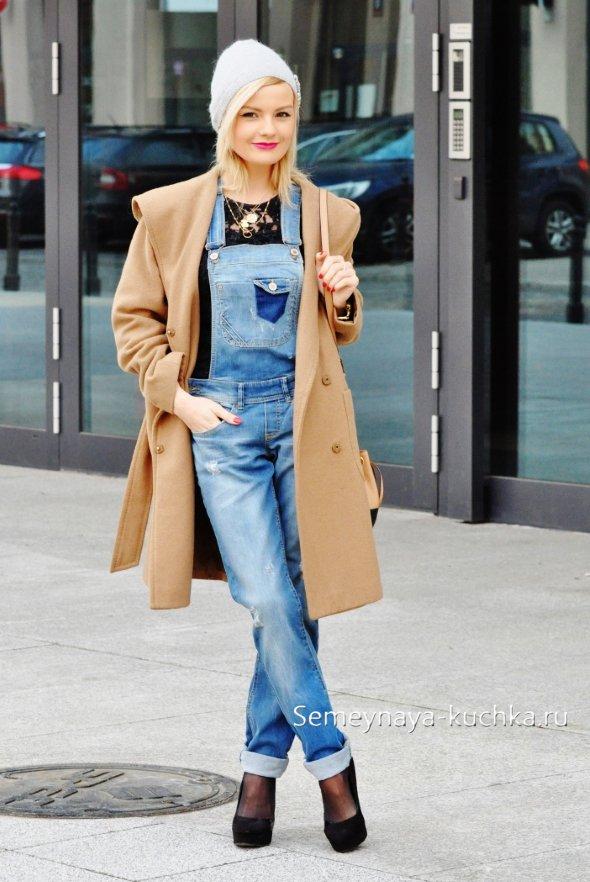 что носить осенью под джинсовый комбинезон