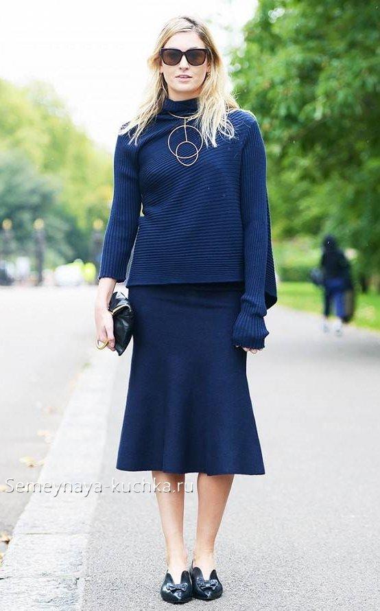 как осенью носить юбки и свитер