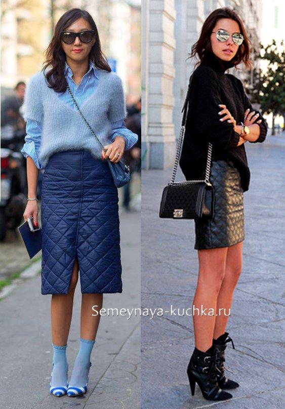 стеганая юбка осенью