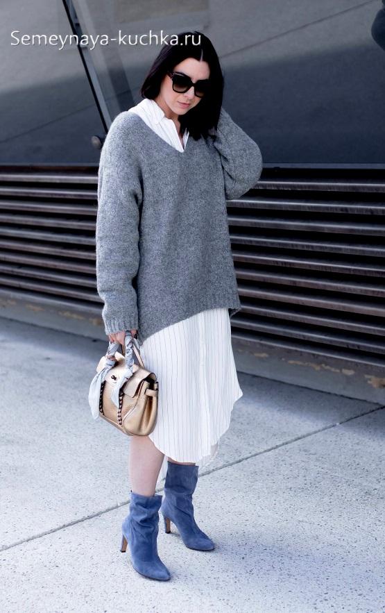 как носить осенью широкий свитер оверсайз