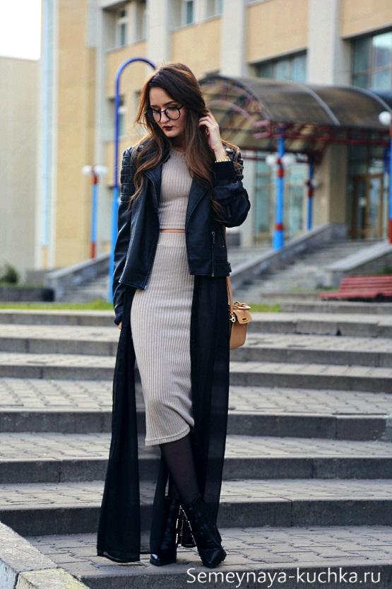 как носить теплое платье осенью