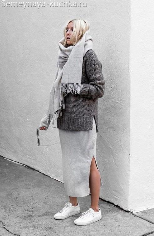 как носить осенью юбку лапшу и свитер