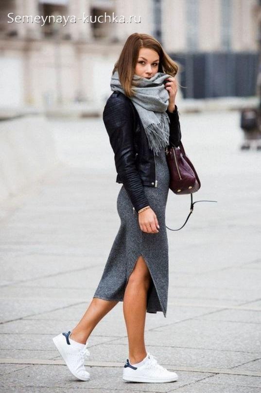 как носить осенью прямую трикотажную юбку лапшу