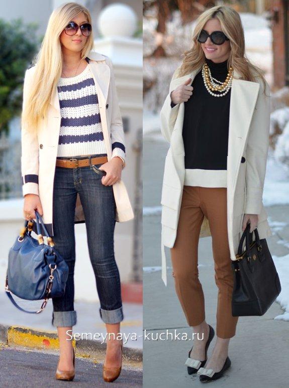 как носить пальто белое