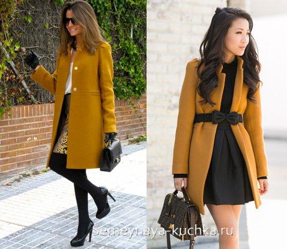 пальто прямого кроя с чем носить