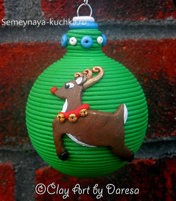 новогодний шар с оленем своими руками