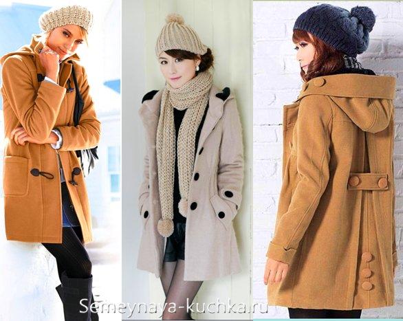 шапка с помпоном под пальто