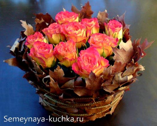низкий осенний букет из роз