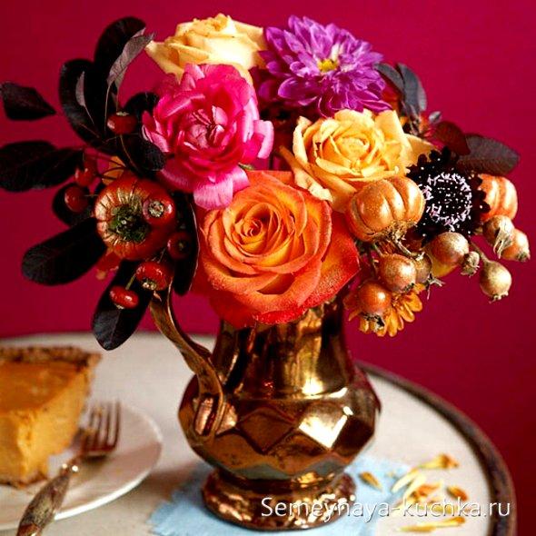 букет с декоративными тыквами