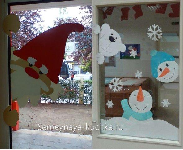 как в офисе украсить окна на новый год