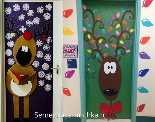 как украсить дверь в кабинет на новый год