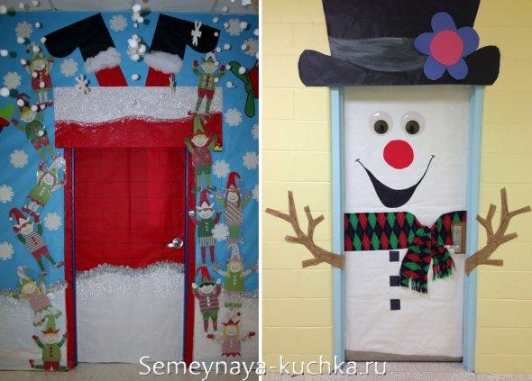 как украсить дверь в офисе на новый год