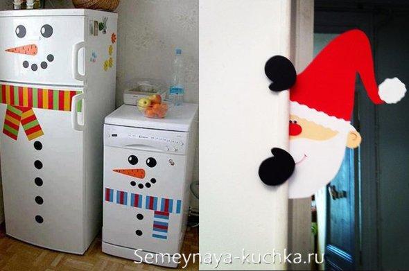 как украсить кухню в офисе на новый год