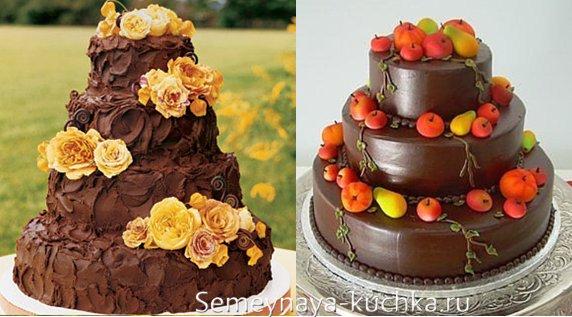 шоколадный торт осень