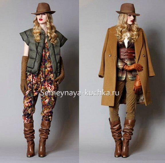 пальто под коричневые сапоги