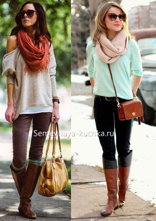как носить сапоги осенью с шарфом